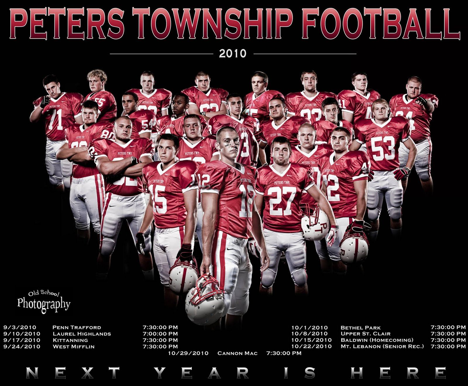 old school photography peters township senior football picture