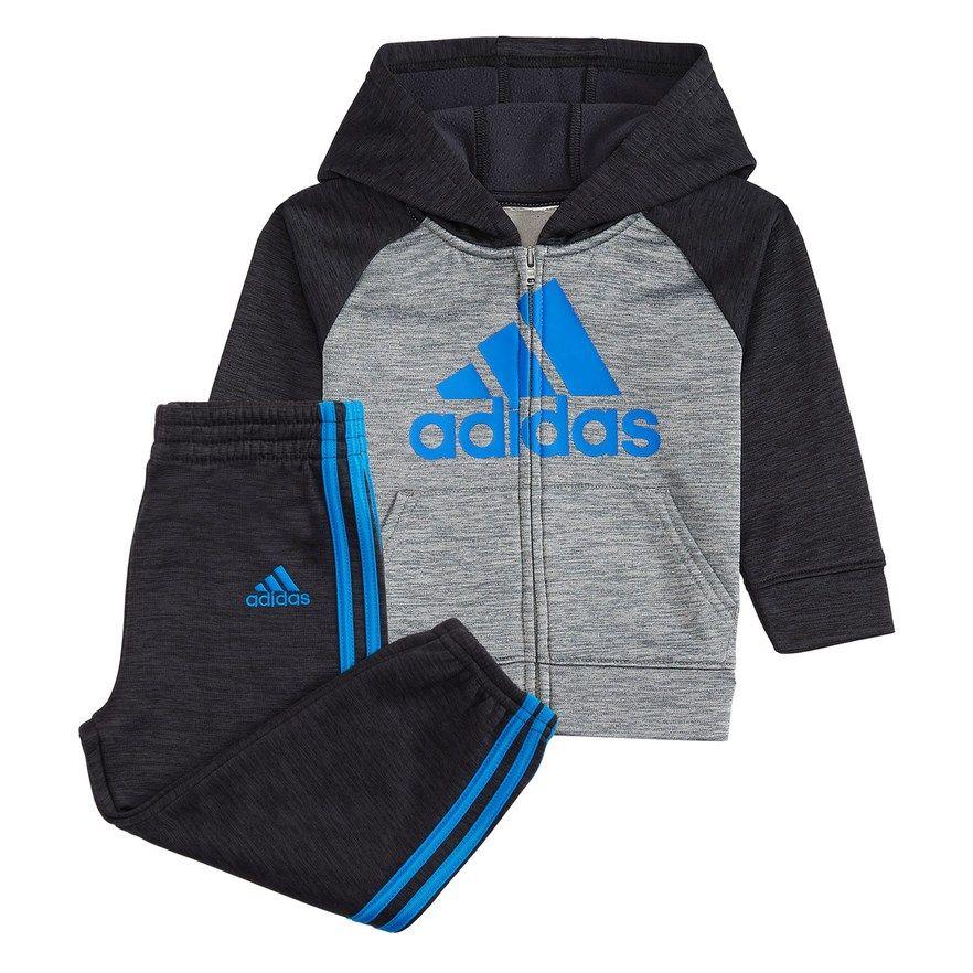 5962dceec4fa Baby Boy adidas Mélange Fleece Raglan Zip Hoodie   Striped Pants Set ...