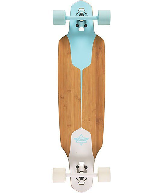 """Bomb hills and carve the tightest turns without fear of wheel bite on the Dusters Channel Blue and White Drop Through 38"""" longboard complete."""