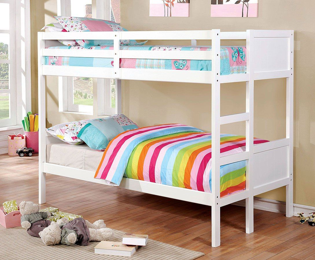 Annette Twin Over Twin Bunk Bed White Bunk Beds Cool Bunk Beds Kids Bunk Beds