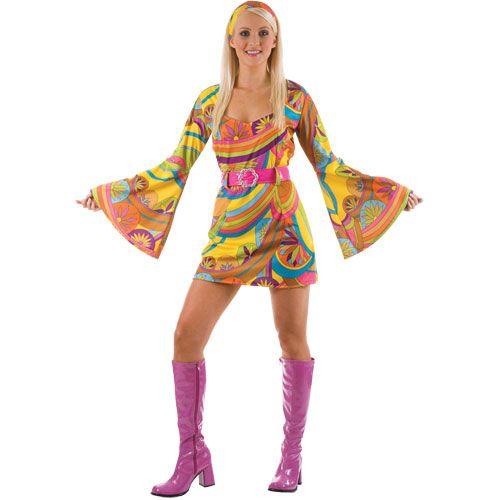 6ad2f92ca5 WICK2059 Ladies Retro 60s Go Go Costume   Disfraces   Hippie fancy ...