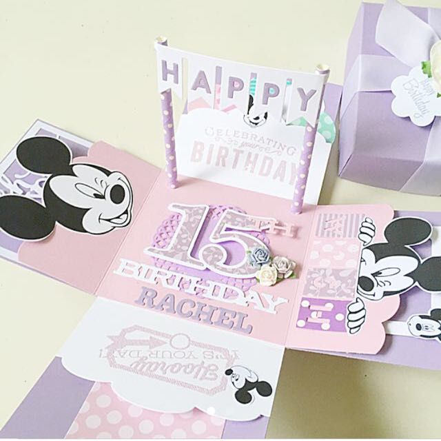 Happy 15 Birthday Explosion Box Card In Purple Mickey Mouse Theme On