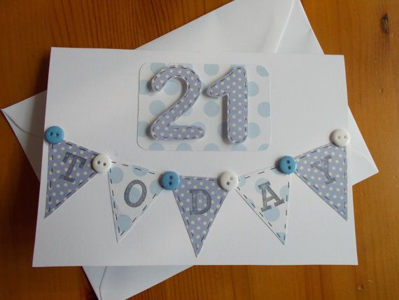 Handmade 21st Birthday Card Available Online To Buy From