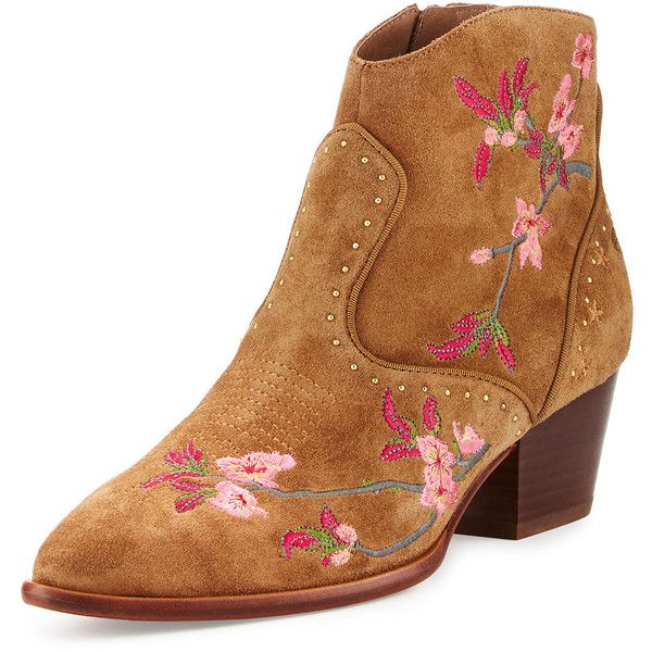 Ash Heidi Embroidered Western Bootie (750 BRL) ❤ liked on Polyvore featuring shoes, boots, ankle booties, russet, short western boots, cowboy boots, ankle boots, cowgirl booties and western booties