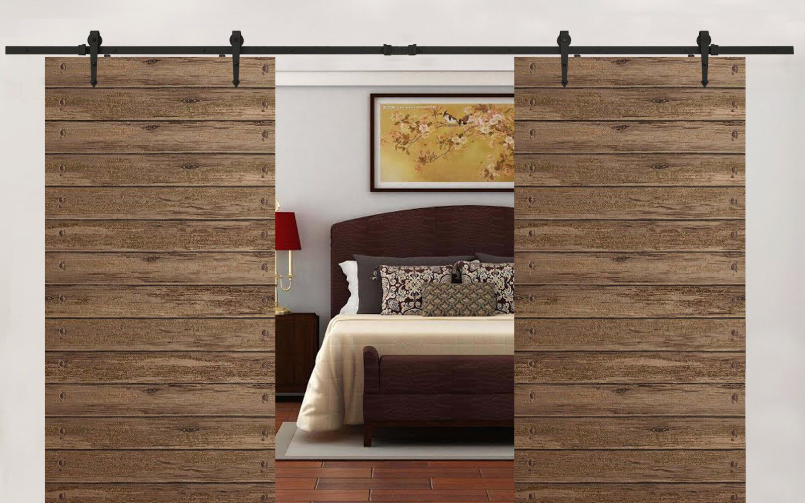 12 Ft Black Antique Style Sliding Barn Wood Door Hardware Closet Set Home Decor Wood Doors Barn Wood Closet Hardware