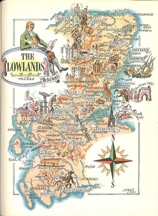 Scotland map art scottish lowlands book illustration by hildalea items similar to scotland map art scottish lowlands book illustration vintage map decor jacques liozu art world travel decor old map book page on gumiabroncs Image collections