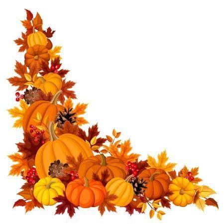 Leaves Corner Pumpkin illustration autumn, Fall clip art