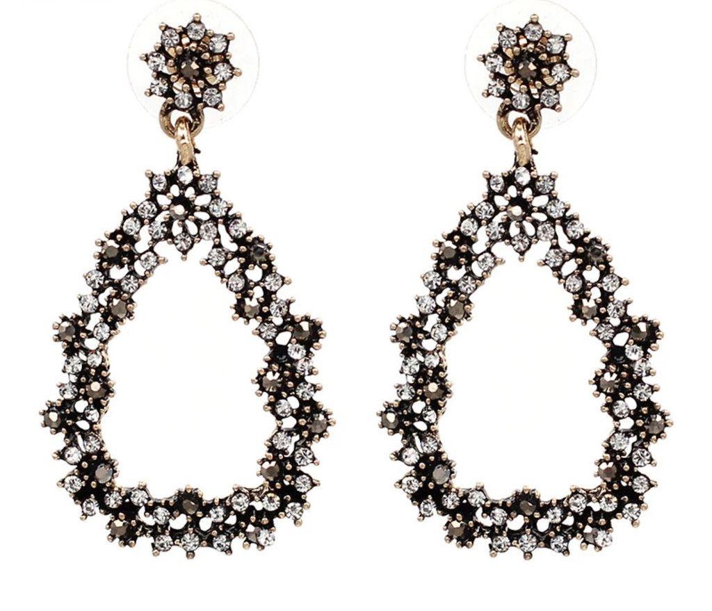 Stone angled earrings
