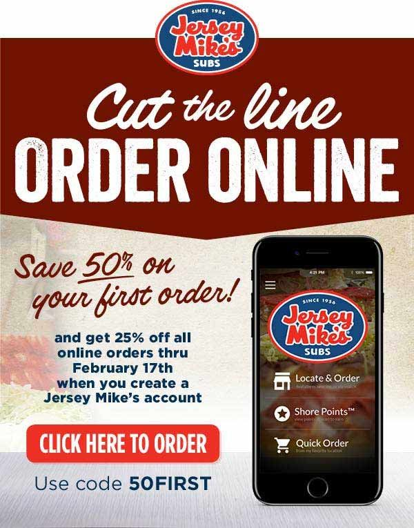 Pinned January 17th 50 Off Your 1st Order 25 Off Others Online At Jerseymikes Subs Via Promo Code 50first Thecouponsap Shopping Coupons Coupon Apps Coding