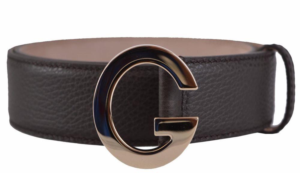 ffc7c71e2fd New Gucci Women s 362732 Brown Leather G Buckle Belt 32 80  Gucci   PushPinClose