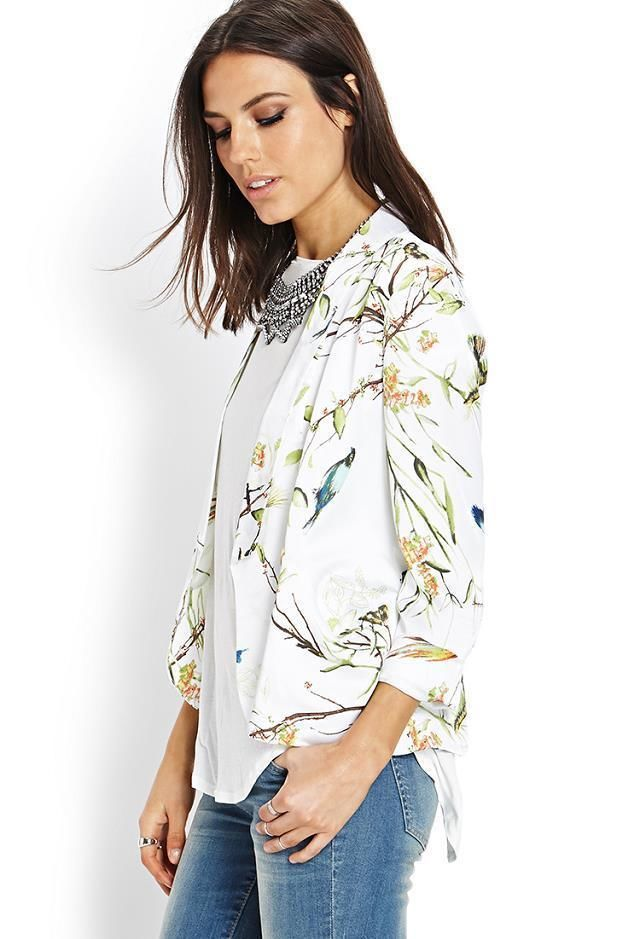 Lady's New Figuring Style Bird Pattern Floral Print White Short Chic Suit Jacket