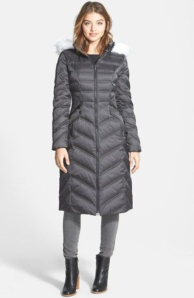 Laundry By Shelli Segal Long Quilted Coat With Removable Faux Fur