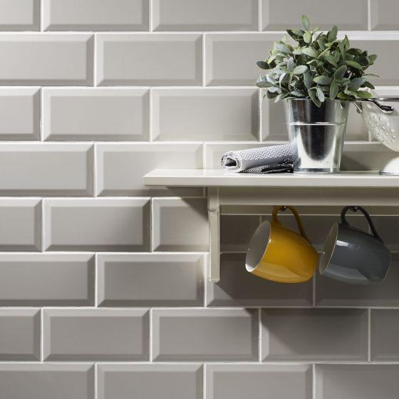 Metro light grey wall tile 10x20cm kitchen pinterest for Light grey kitchen walls