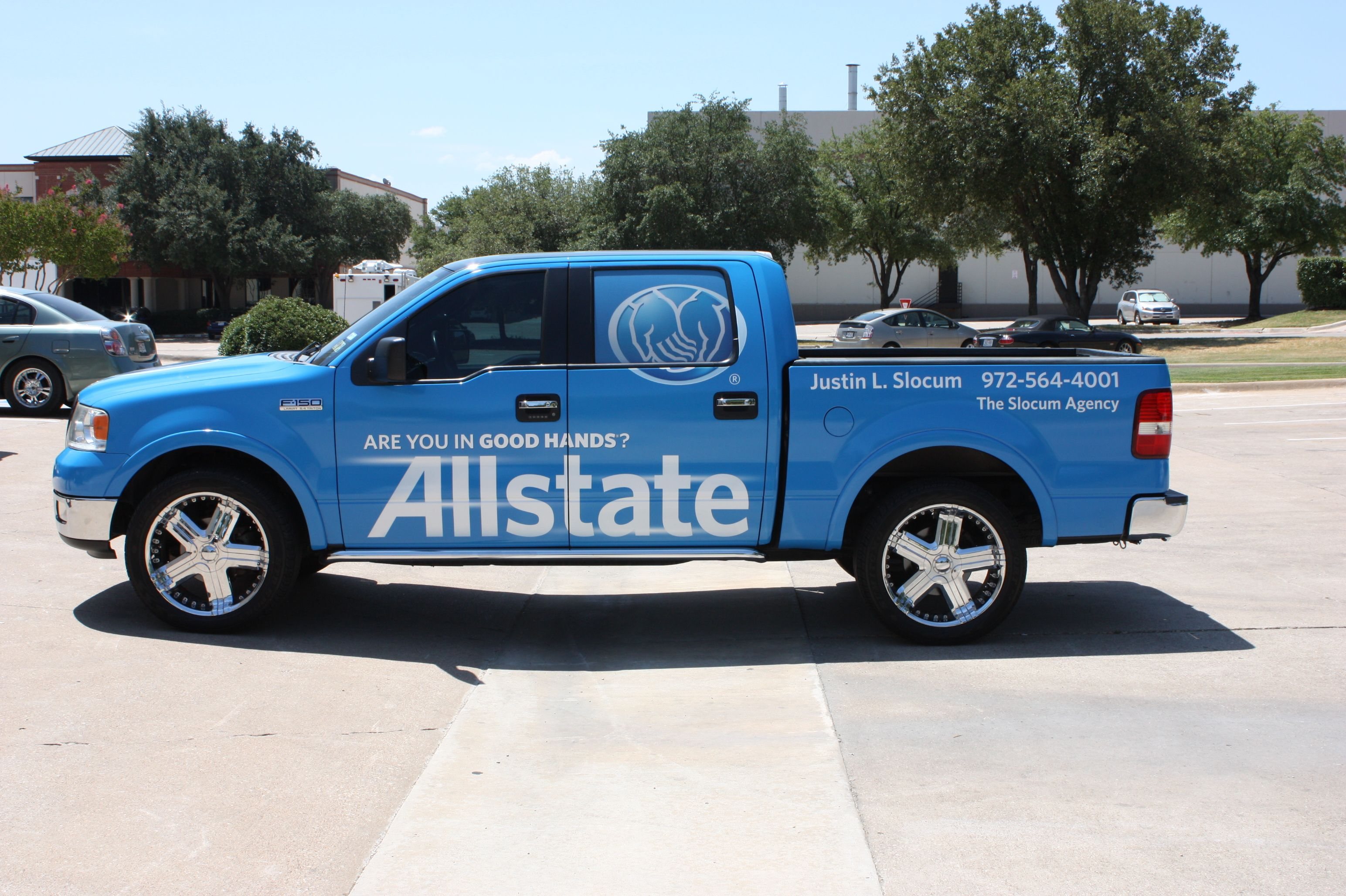 Vehicle Wraps Are A Great Way To Get Noticed Our Friends At Allstate Take Advantage Of The Advertising Everywhere They Go Www Speedp Car Wrap Slocum Vehicles