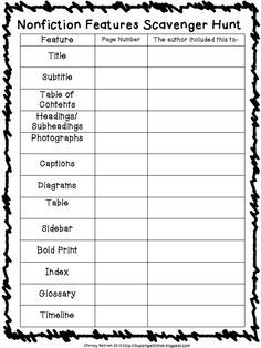 nonfiction text features scavenger hunt worksheet - Google Search ...