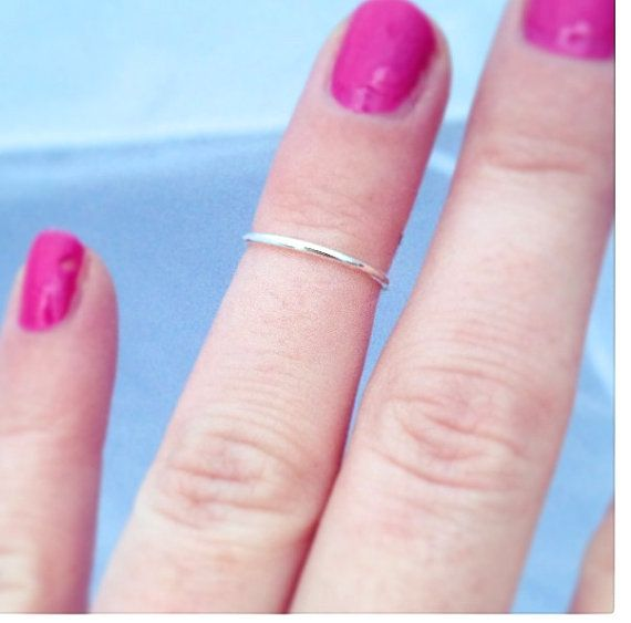 Thin Sterling Silver Knuckle Ring, Modern Upper Finger Ring, Free Shipping on Etsy, $15.00