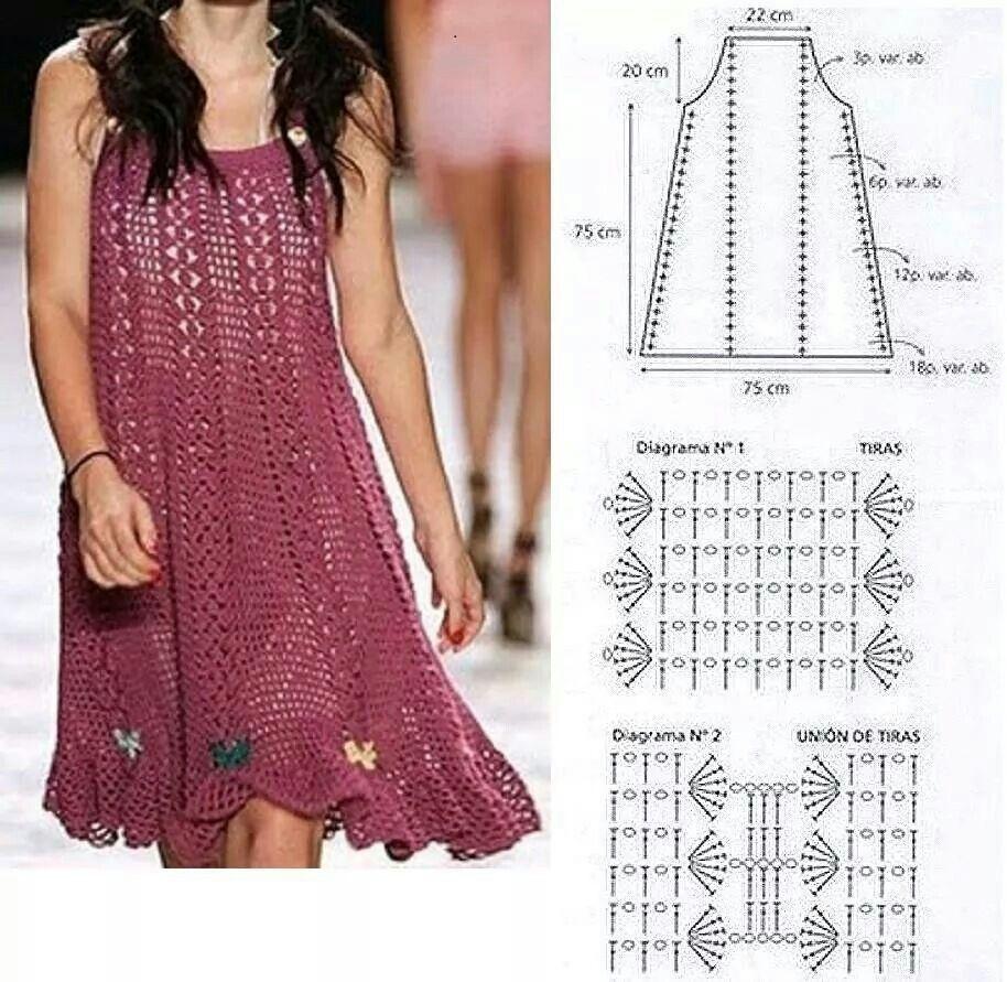 VESTIDO DE GANCHILLO/CROCHET CON PATRONES | Beautiful crochet ...