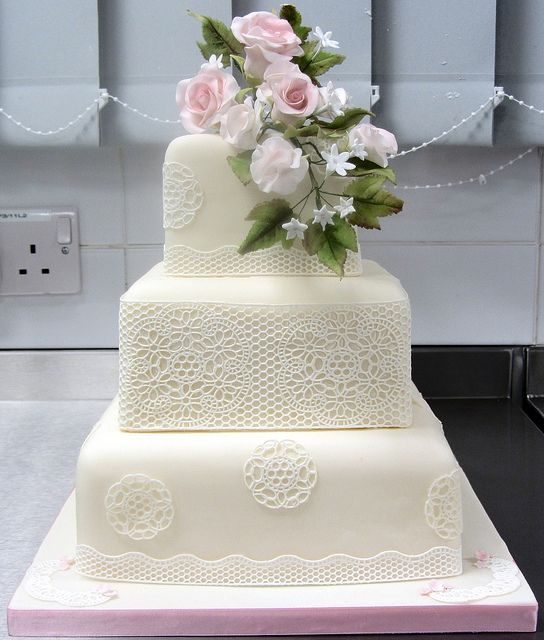 3 Tier Square Wedding Cake with Sugarveil, roses and sweet peas ...