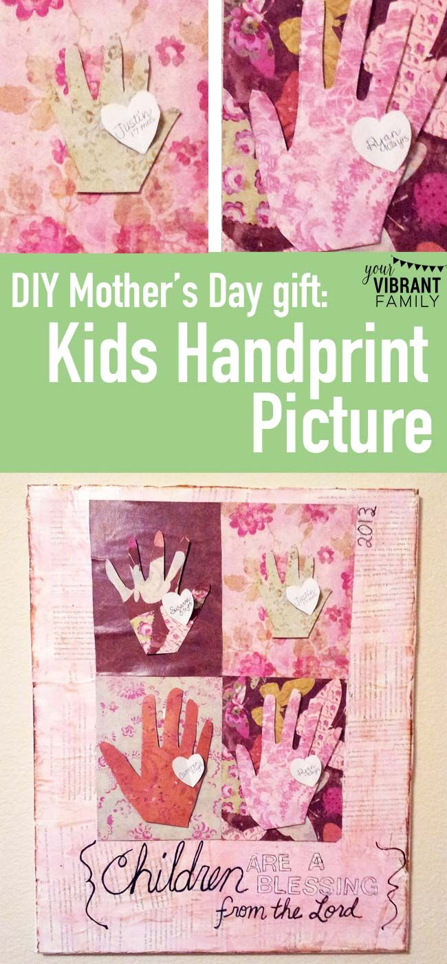 Need A Quick Handmade Mothers Day Gift Try This Gorgeous Kids Handprint Canvas Picture Came Together In About An Hour And It Was Great