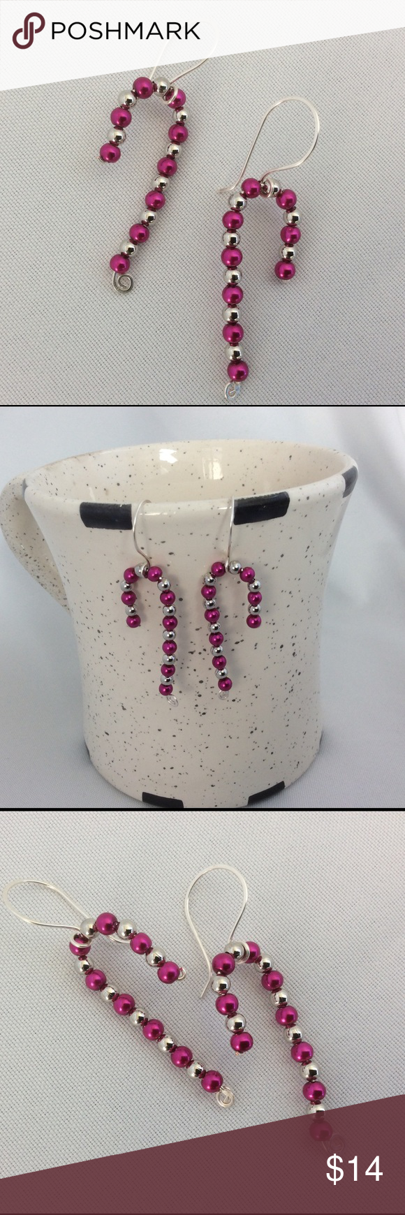 Pink And Silver Candy Cane Earrings These Are Absolutely Adorable You Will  Love Wearing Them