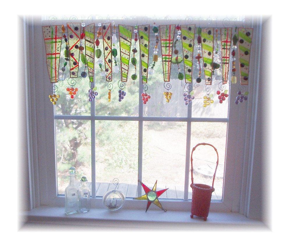 Handpainted Glass Window Treatment Valance