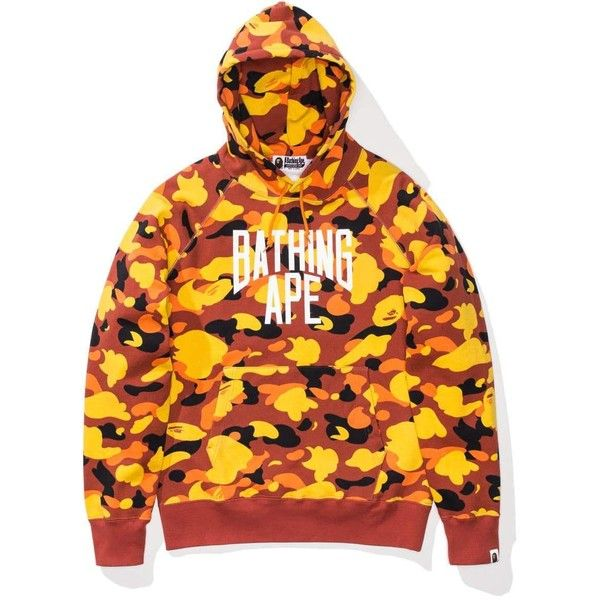 aac597db8843 BAPE 1ST CAMO NYC LOGO PULLOVER HOODIE ❤ liked on Polyvore featuring tops