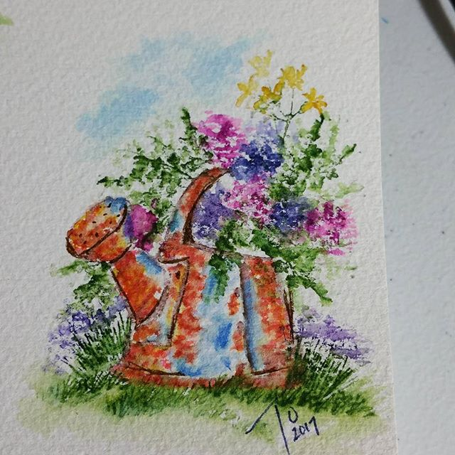 """Tricia OBin on Instagram: """"Last one for tonight #spring #aiwatercolor"""""""