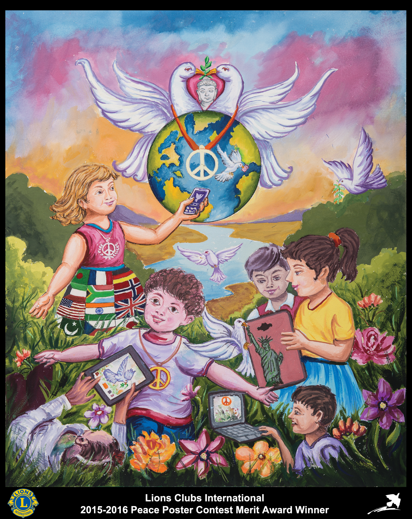 2015 16 Merit Award Winner Paras Vanjari 11 Years Old India Sponsored By Satara Janseva Lions Club Peace Drawing Earth Drawings Drawings