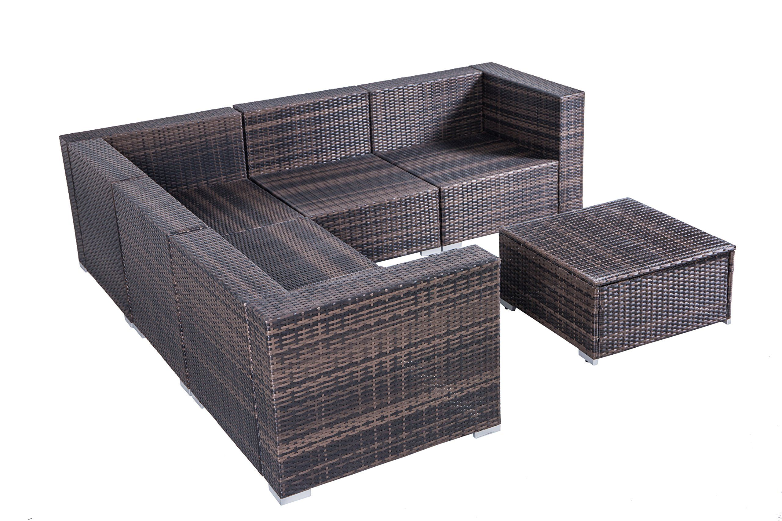 Outdoor Cushioned Rattan Wicker Patio Furniture Set Sectional Conversation Garden Leisure Lshaped Corner Sofa 6pcs Visit The Image Link More Details This