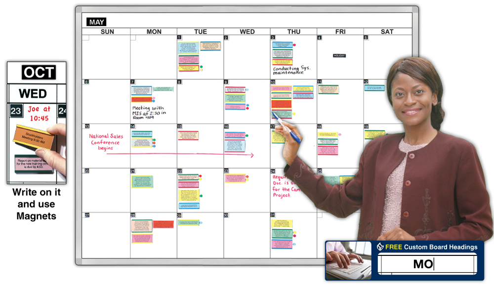One Month Magnetic Dry Erase Calendar Large Whiteboard Lahr Office