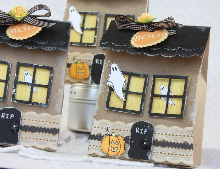 Halloween Paper Bag Ideas Haunted House Brown Paper Gift Bag