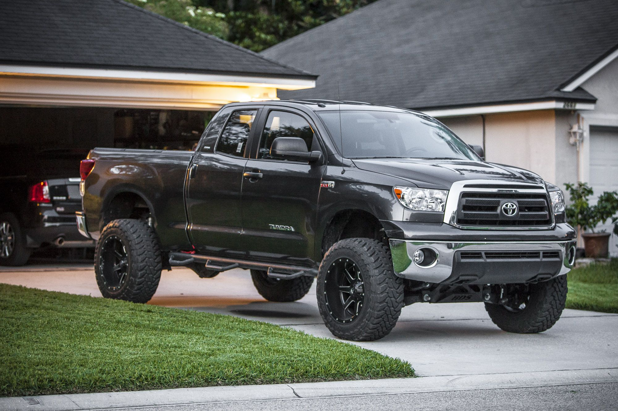 """2013 Toyota Tundra SR5 5.7L V8 4x4 with a BDS 7"""" suspension lift and 35"""" Toyo MT tires on 20"""" Fuel Mavericks"""