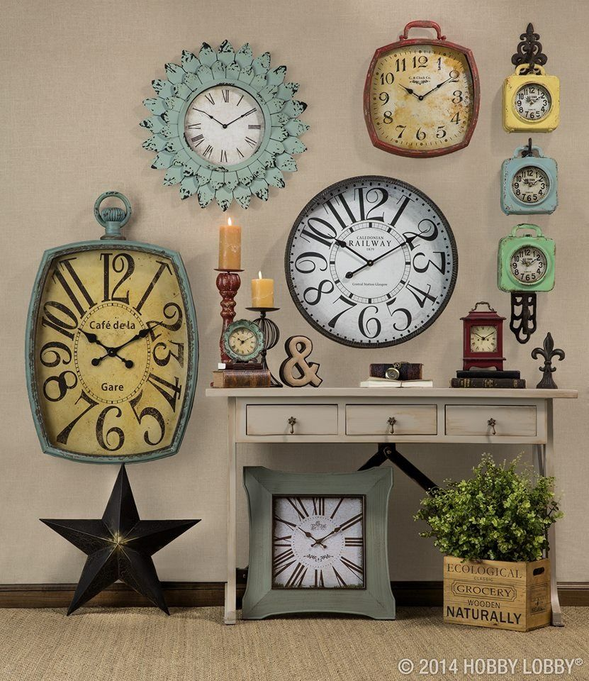 Clock wall love to do this and set clocks to different countries would like a clock section on my alice wall transform a nice enough wall into a now thats more like it wall with the addition of a stylish clock amipublicfo Choice Image