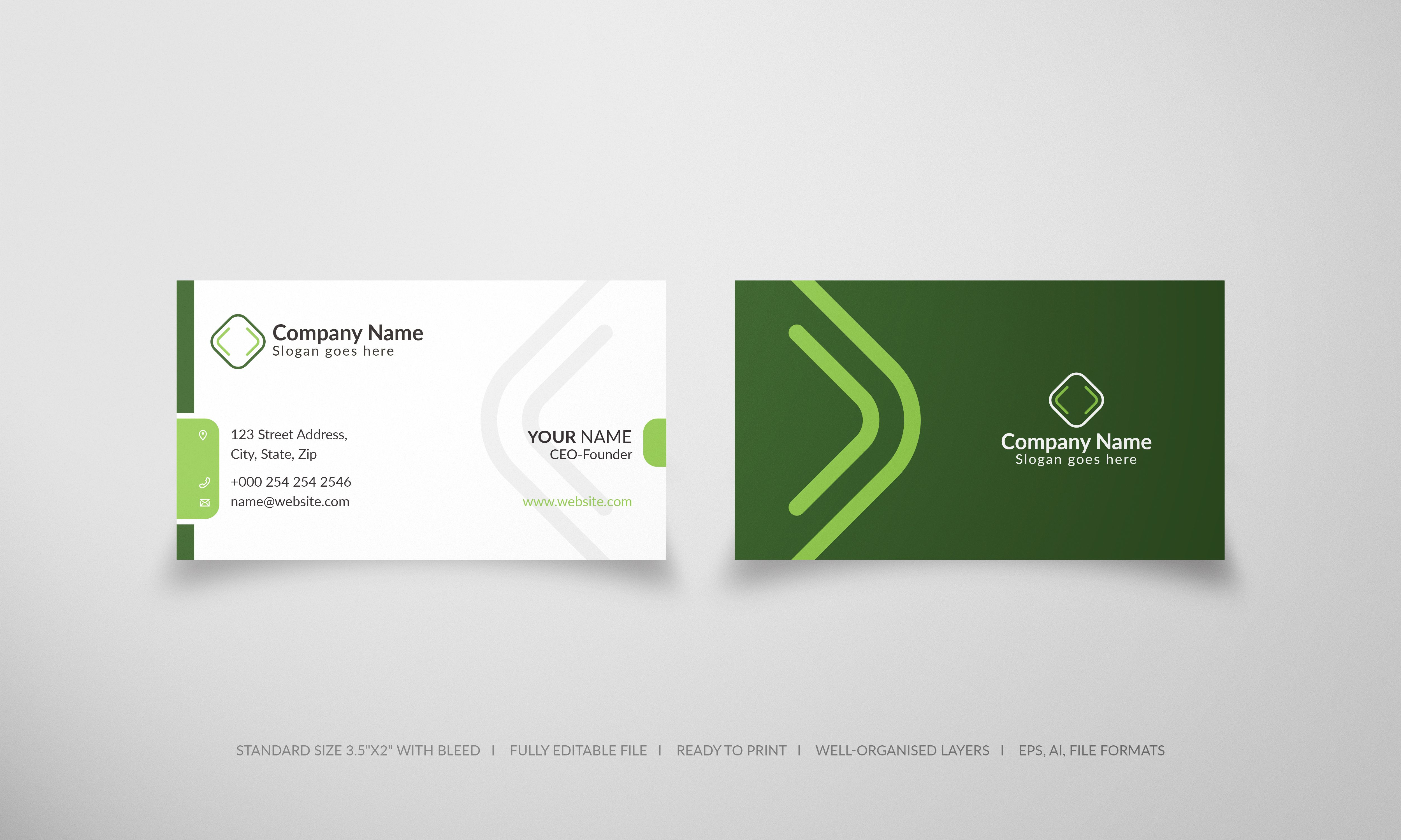 Free Business Card Templates Free Business Card Templates Business Card Design Green Business