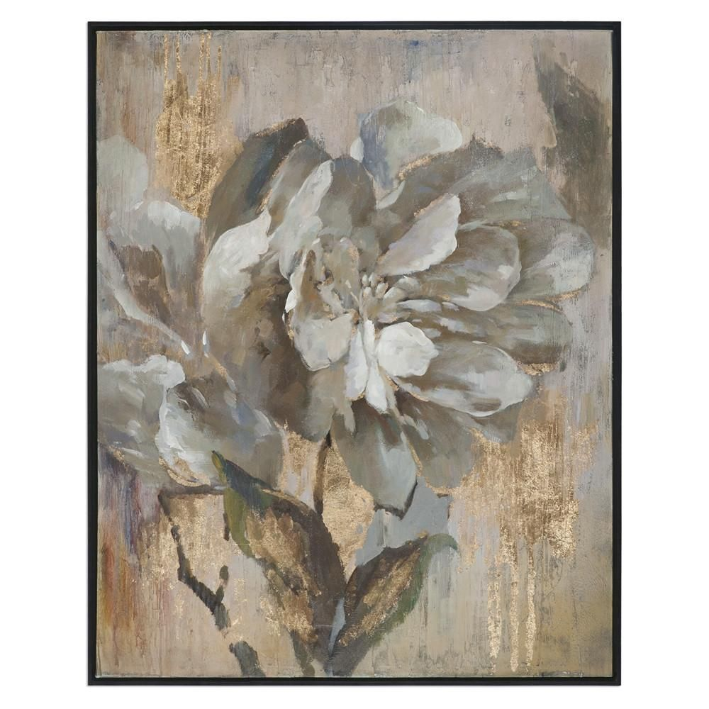 Elegant Flower Artwork With Metallic Gold Highlights Floral Wall Art Framed Canvas Art Canvas Wall Art