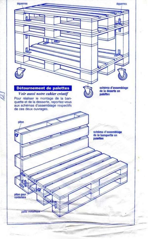 plans pour confectionner des meubles pour jardin avec des palettes palette pinterest. Black Bedroom Furniture Sets. Home Design Ideas