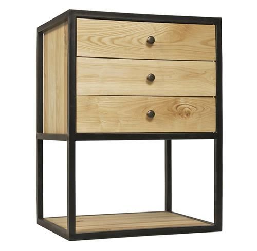 Reilly Industrial Loft 3 Drawer Elm Metal Nightstand With Images Metal Accent Table Metal Nightstand