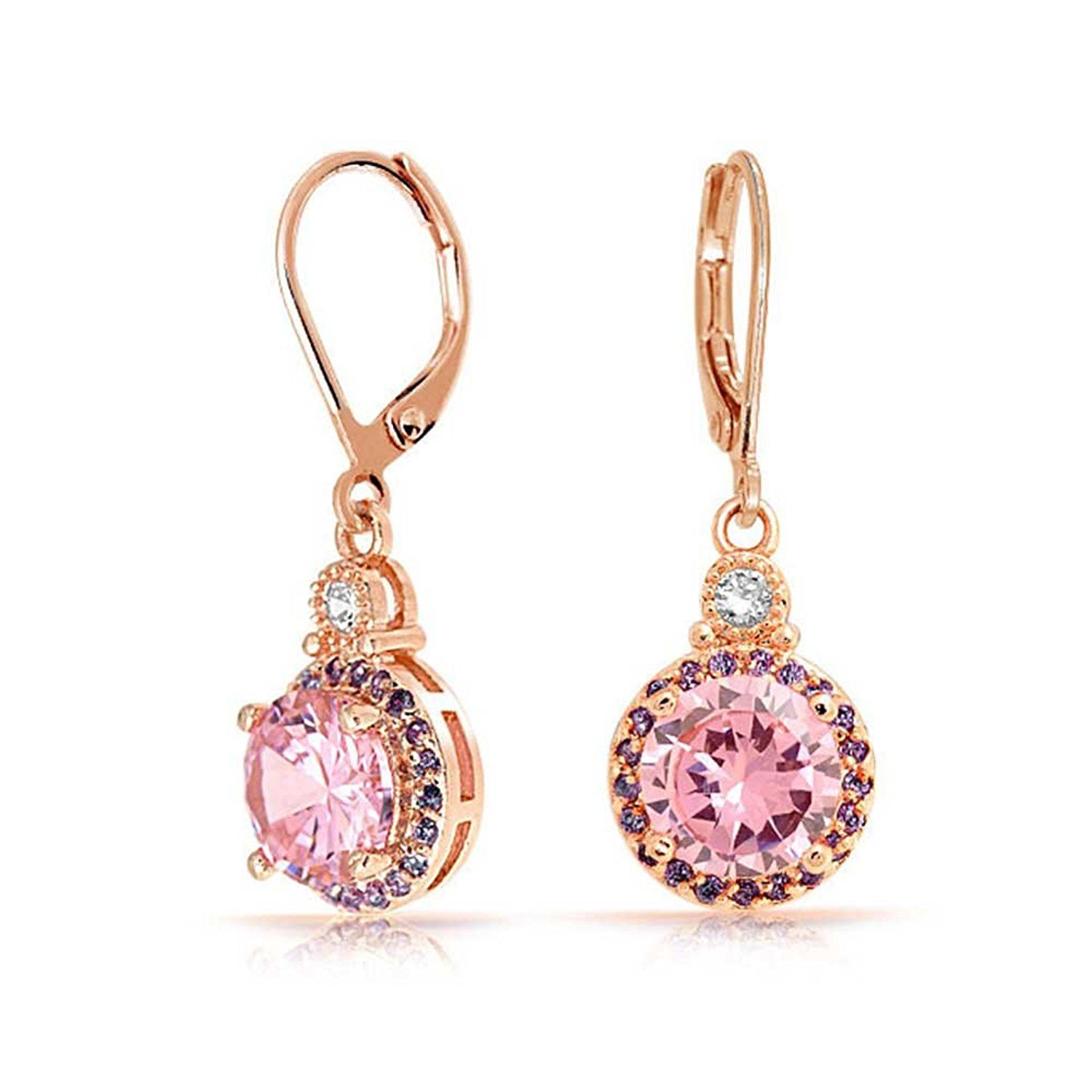 Bling Jewelry Round CZ Drop Rose Gold Plated Leverback Earrings pIfQK6wfNt