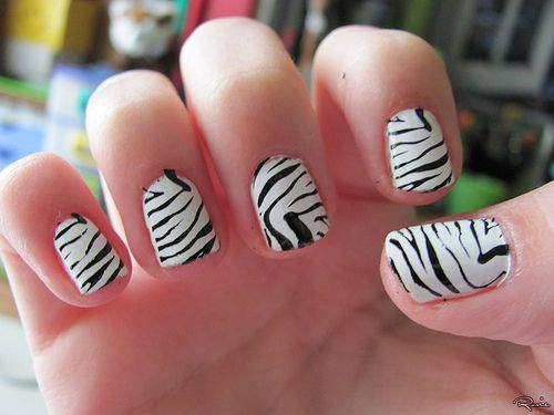 Black and white zebra nail design
