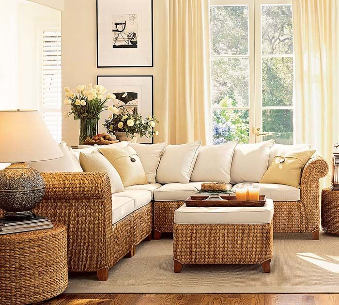 Seagrass 5Piece Sectional Living Room Design Idea from Pottery