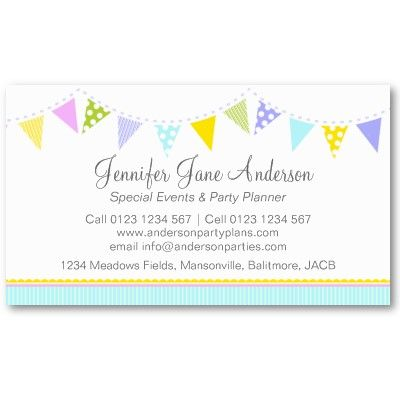 Bunting party events planning business cards business card design bunting party events planning business cards colourmoves