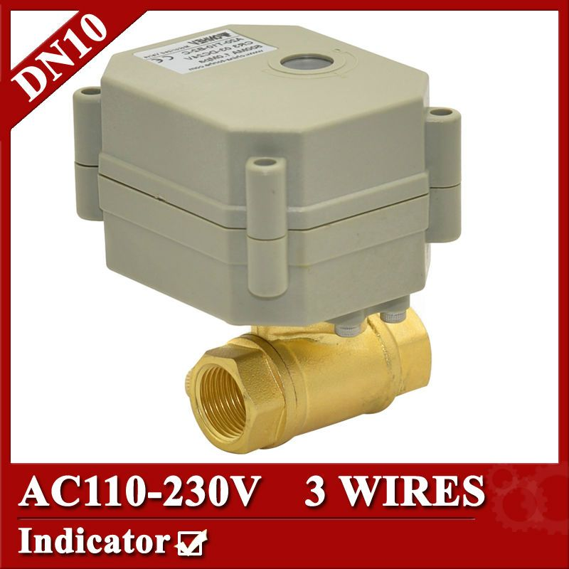 3 8 Brass Electric Valve 3 Wires Dn10 Motorized Valve 2 Way