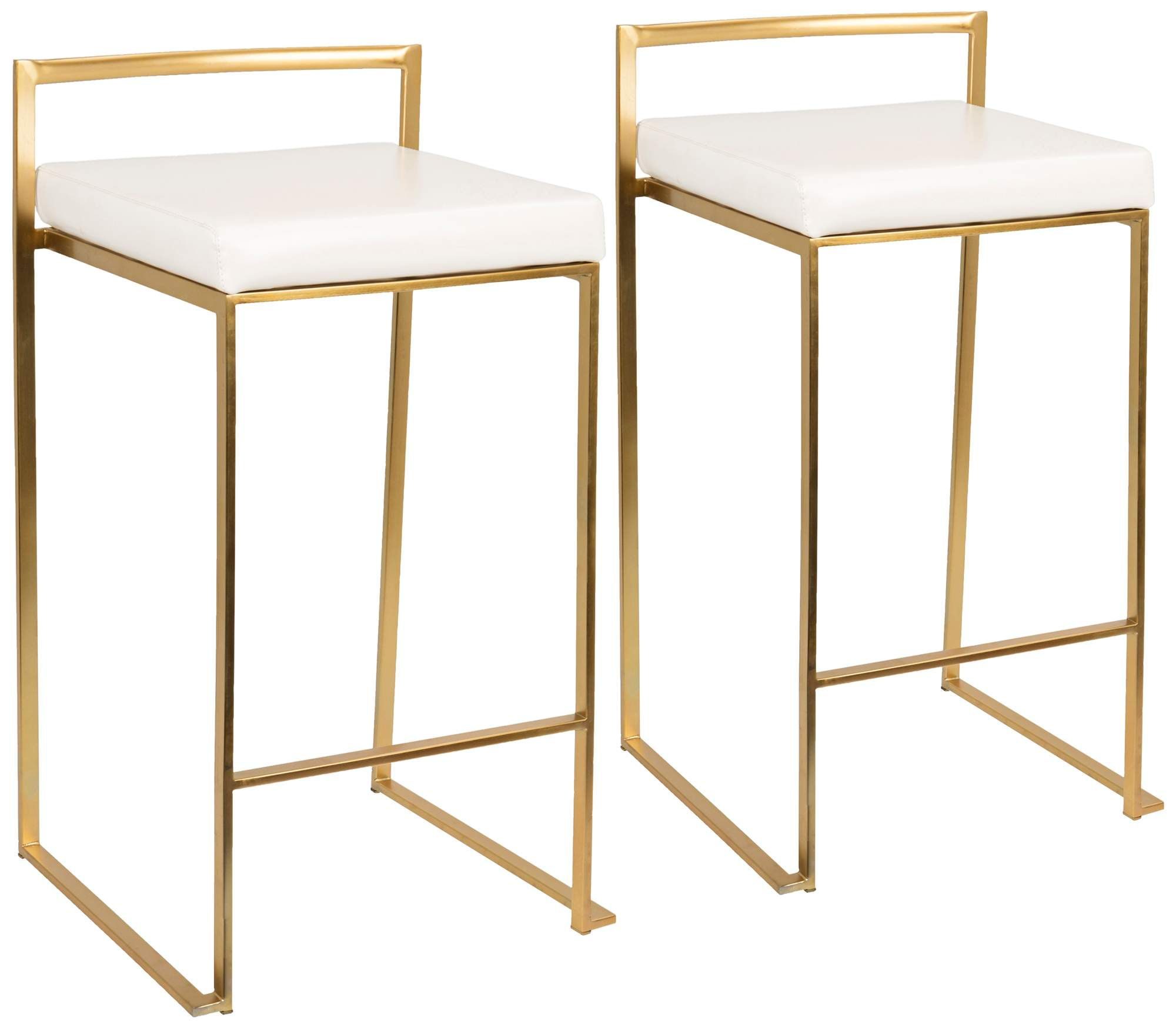 Fuji 27 Inch White Faux Leather Counter Stool Set Of 2 In 2020