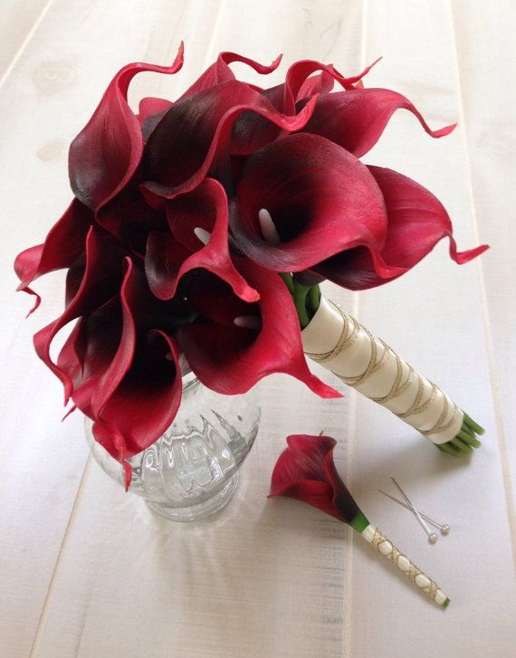 Choose Calla Lily Color - Red Calla Lily Bouquet and Boutonniere ...