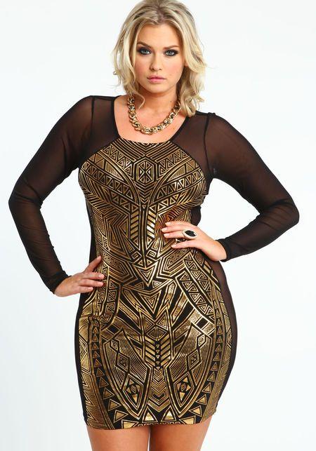 plus size metallic aztec mesh dress, gold, womens fashion unique