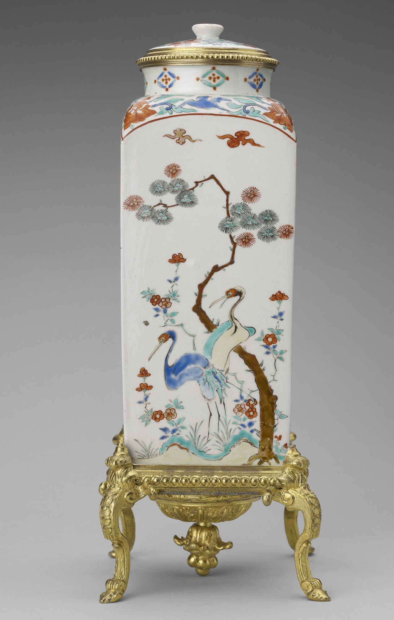 A Pair Of Japanese Kakiemon, Square, Porcelain Vases With Rounded