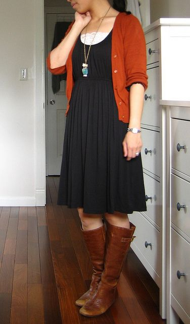 gray dress and brown boots.