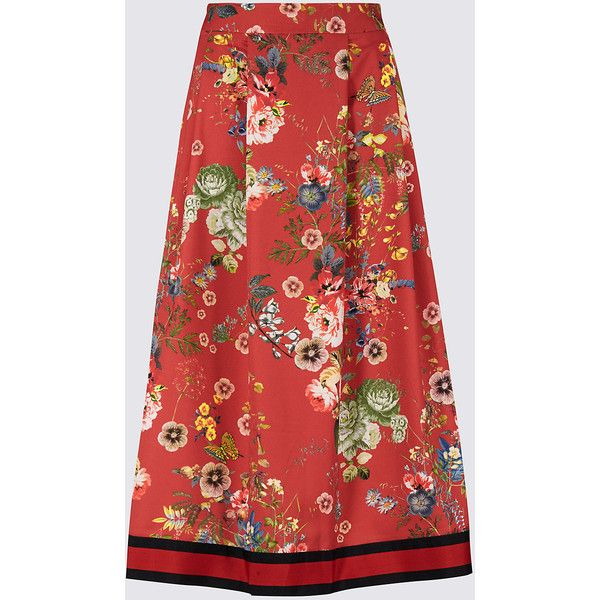 Floral Print Skater Skirt M&S (£35) ❤ liked on Polyvore featuring skirts, floral print skirt, floral skater skirt, floral knee length skirt, flared floral skirt and red skater skirt