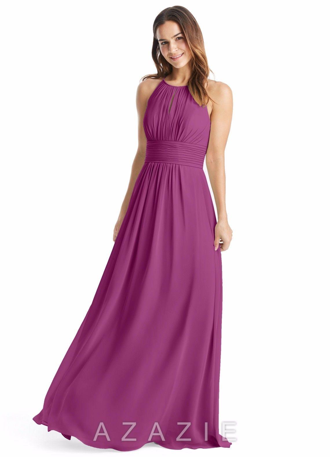 Azazie Bonnie Bride Bridesmaid Formal Prom Orchid Chiffon Dress Size ...