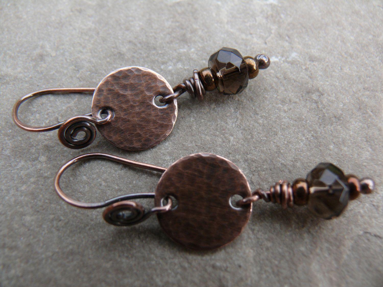 Copperfield - copper and smokey quartz earrings. £13.00, via Etsy ...